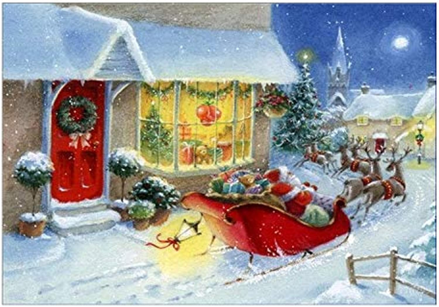 Paint By Digital Kit For Kids And Adults With Frame, Diy Oil Painting -Red House Santa, Gift 16''X20'' Inch