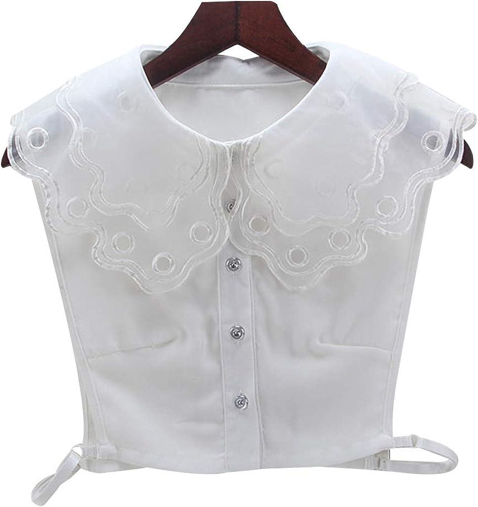 YOUSIKE Neck Chain, Women White/Black Color Lace Detachable Lapel Choker Necklace Shirt Fake False Collar Fashion Clothes Accessories