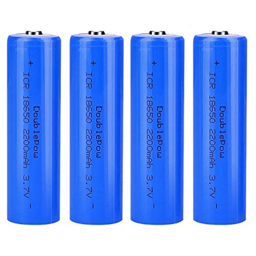 4 Pcs Batería 18650 Recargable Litio Lones Pilas 3.7V 2200mah Capacidad Baterías de Litio Células Acumuladoras para Timbre de Puerta, LED Linterna Antorcha
