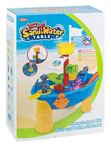 III 8810 speeltafel voor zand en water, piratenboot met veel accessoires, vanaf 18 maanden, ca. 46 x 32 x 14 cm, 24-delig, kleurrijk