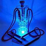 WJMT Una cachimba con 4 Salidas, una Shisha con 4 mangueras y Luces LED Apta para cafés, Bares, Celebraciones Familiares (60cm de Altura)