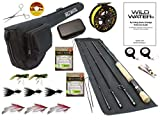 Wild Water Fly Fishing Fortis Series CNC Machined Fly Reel, 9 Foot, 4-Piece, 7/8 Weight Fly Rod Complete Fly Fishing Rod and Reel Combo Starter Package with Freshwater Flies
