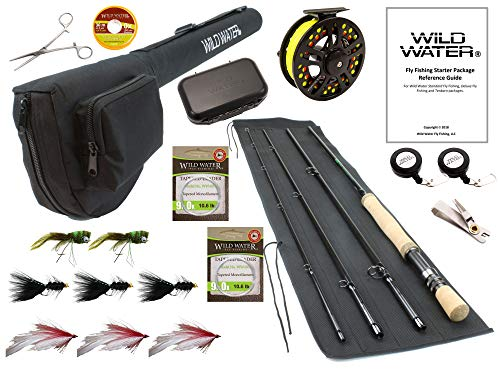Wild Water Fly Fishing CNC Machined Fly Reel, 9 Foot, 4-Piece, 9/10 Weight Fly Rod Complete Fly Fishing Rod and Reel Combo Starter Package with Freshwater Flies