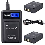 TOP-MAX 2 Pack NP-W126 NP-W126S Batteries + USB Charger LED Screen for Fujifilm NP-W126 and Fuji FinePix HS30EXR HS33EXR HS50EXR X-A1 X-E1 X-E2 X-M1 X-Pro1 X-T1 [並行輸入品]