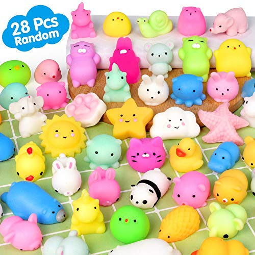 Mochi Squishy Toys FLY2SKY 28PCS Animal Mini Squishies Kawaii Party Favors for Kids Cat Unicorn Squishy Squeeze Stress Relief Toys Goodie Bags Novelty Toy Birthday Gifts for Boys Girls Adults  Random