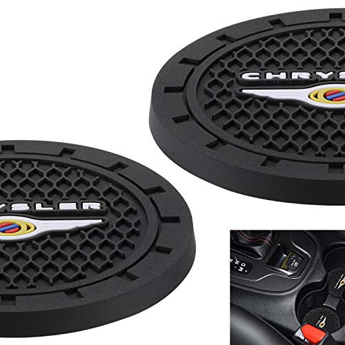 "AOOOOP Car Interior Accessories for Chrysler Cup Holder Insert Coaster - Silicone Anti Slip Cup Mat for Chrysler 300 Pacifica Hybrid (Set of 2, 2.75"" Diameter)"