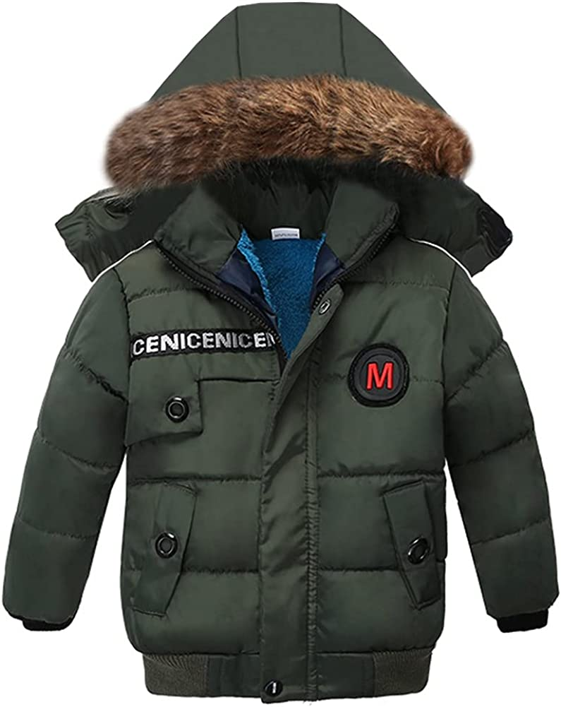 LPATTERN Boy Winter Cotton Coat Warm Puffer Quilted Water Resistant Parka Jacket with Fur Hood for Boys