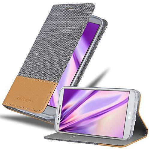 Cadorabo Hülle für LG G2 in HELL GRAU BRAUN - Handyhülle mit Magnetverschluss, Standfunktion & Kartenfach - Hülle Cover Schutzhülle Etui Tasche Book Klapp Style