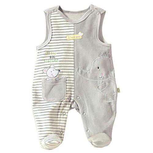 Bornino Strampler Elefant & Maus - kuschelweiche Babykleidung aus Nickistoff - mit Füßen und Druckknöpfen an Schultern & Schritt - grau/gelb