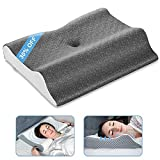 Elviros Cervical Pillow for Neck Pain, 2 in 1 Memory Foam Contour Supports Sleeping Pillows for Side, Stomach, Back, Sleepers, Ergonomic Orthopedic Traction for Shoulder Pain Relief (Dark Grey)