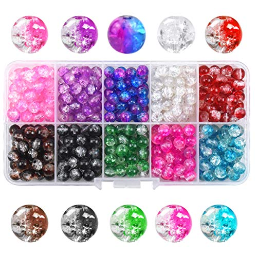 450pcs 6mm Crackle Glass Beads with Storage Box, Colourful Craft Beads with Holes, Round Crackle Glass Loose Beads for Necklace Bracelet Jewelry Making and DIY Crafting