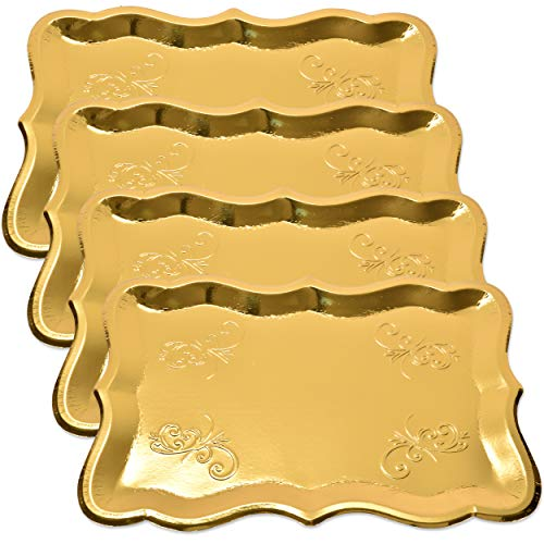 10 Gold Rectangle Trays for Dessert Table Serving Parties 9' x 13' Heavy Duty Disposable Paper Cardboard in Elegant Shape for Platters, Cupcake, Birthday Parties, Dessert, Weddings and More Food Safe