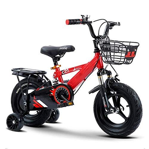 BANANAJOY Bicicleta de la Bicicleta de niño de 14 Pulgadas Freestyle, niño de los niños del niño de los niños Bicicleta for niños con Ruedas de Entrenamiento y Frenos de Mano, montado