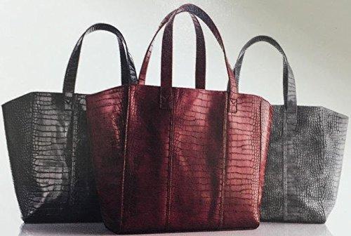 Neiman Marcus Faux-Crocodile Tote Bag - Black