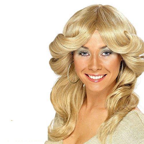 Leuk Daisy 70s Flick Pruik Blond ABBA Farrah Fawcett Charlie's Angels Fancy Jurk Kostuum