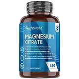 Citrato de Magnesio 740mg 180 Cápsulas Vegano - 220mg de Magnesio Puro, Ayuda a Mejorar Masa...