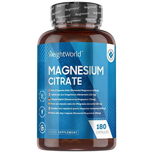 WeightWorld Magnesium Kapseln - 220mg elementares (reines) Magnesium pro Kapsel - 180 vegane Kapseln - Natürliche & Geprüfte Inhaltsstoffe - Magnesiumcitrat ohne unerwünschte Zusatzstoffe