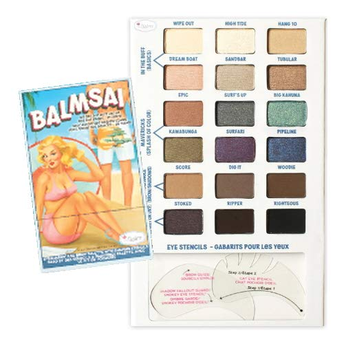 (3 Pack) theBalm Balmsai Eyeshadow and Brow Palette with Shaping Stencils - 18 Colors