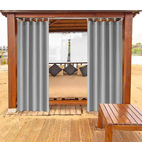 Outdoor Vorhänge Gartenlauben Balkon-Vorhänge Gardinen Verdunkelungsvorhänge Vorhang Wasserdicht Mehltau beständig für Pavillon Strandhaus 1 Stück,132x215cm,grau