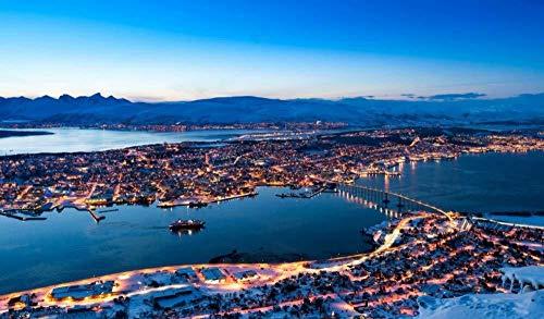 Kxch Malen nach Zahlen für Erwachsene Anfänger Tromso Norwegen Leinwand Malvorlagen Moderne DIY-Kits Kunstraum Einzigartiges Dekor Geschenk Rahmenlos 40X50Cm