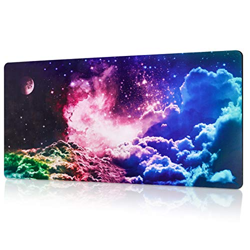 """Yastouay Gaming Mouse Pad Galaxy Large Mouse Pad with Non-Slip Rubber Base Extended Keyboard and Mouse Pad for Game Work Study Home Office, 31.5"""" x 15.7"""""""