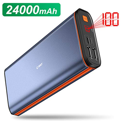 EMNT Batterie Externe 24000mAh Power Bank Haute Capacité Portable Chargeur 3 Ports USB Sorties USB C Haute Vitesse et Ecran LCD avec Smartphones,Tablette etc.