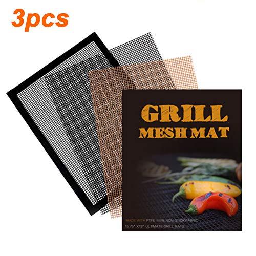 kengb BBQ grillgaas, hittebestendige mat met randgrillmat, vuurkuil niet-stick grillgaas herbruikbare barbecuematten voor grillen, koken, bakken, barbecue en oven