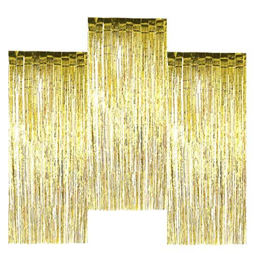 NUOBESTY 3 Stücke Photo Booth Kulissen Folienvorhänge Metallic Festival Regen Vorhang Quaste Party Regen Vorhang Dekor für Hochzeit Geburtstag Weihnachten Halloween Disco Party Favor Dekorationen