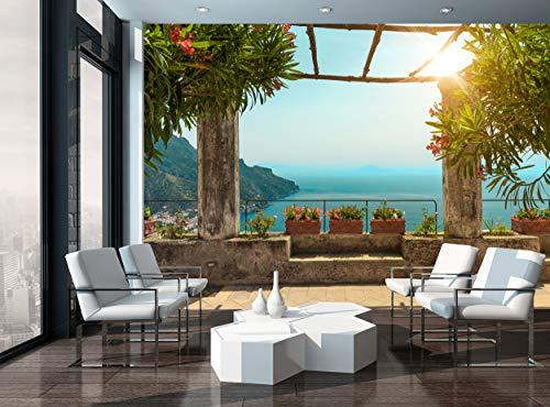 Carta da parati fotografica con pergolato sulla terrazza, decorazione murale murale gigante poster di carta inclusa pasta natura Italia