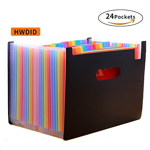 HWDID Expanding File Folders with A4 Legal Accordion Document File Office Organizer – Multi-Color High Capacity Plastic Stand Bag with Labels for Office/Business/Study