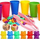 Ucradle 70 Stück Montessori Mathematik Spielzeug - Zählen und Rechnen, 6 Farben Cartoon Bären Lernspielzeug mit 6 Passenden Tassen, 2 Große Pinzetten und 2 Würfel für Kinder 2-4 Jahre