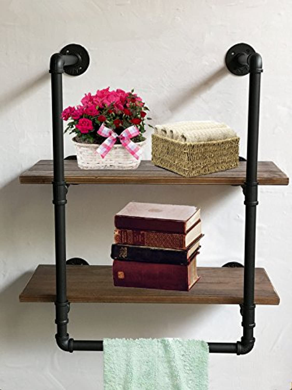 Wendy JINGQI Industrial Retro Wall Mount iron Pipe Shelf,Bathroom Wall Unit,2 tier Pipe shelves and Towel Holder,Floating Shelves,Bathroom Decor,Towel Storage, Towel rack 25cm wide