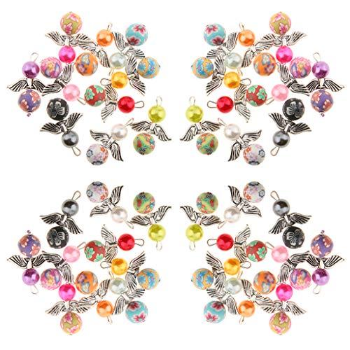 P Prettyia 40pcs DIY Bastelset Engel Anhänger Perlen Halskette Perlenengel Anhänger