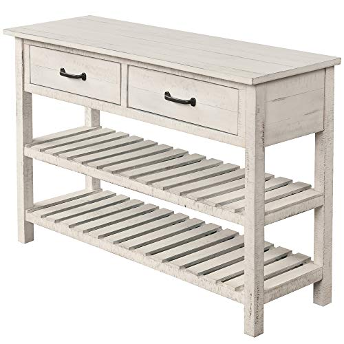 Veryke 3-Tier Console Table, Rustic Wooden Accent Table Sofa Side End Table with 2 Storage Drawers and 2 Tier Storage Shelves for Entryway, Hallway, Living Room (Antique White)