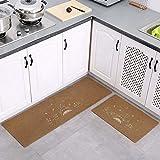 MWPO Juego de alfombras de Cocina, 2 Piezas de café de Color...