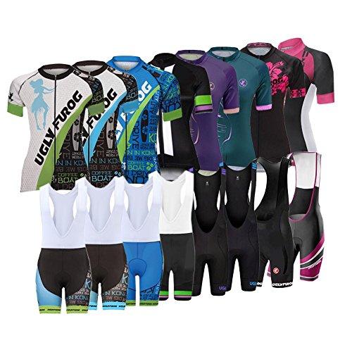 Uglyfrog ZLSW12 Estate Donna Sport all'Aria Aperta Usura Manica Corta Magliette + Bib Pantaloncini Bicicletta Body Ciclismo Maglia Bicicletta Abbigliamento Bici Triathlon Wear