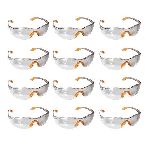 Confezione da 12 Occhiali Di Protezione Trasparenti - Occhiali Protettivi con Lenti in Plastica Trasparente e con Nasello e Astine in Gomma Antiscivolo per una Vestibilità Confortevole