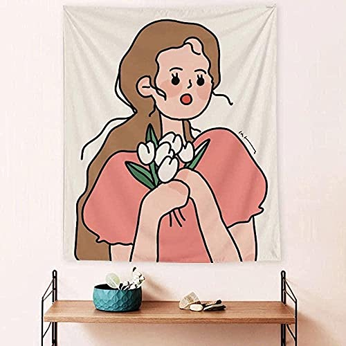 NC83 INS Carton Girls Tapiz Gran cómic Tapiz Impresión de Pared Arte Tela Decoración Manta Dormir Dulce Lindo Amante Mat Yoga INS Alfombra Decoración de la habitación 150X200CM