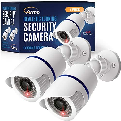 (2 Pack) Fake Security Surveillance Camera Fake CCTV Bullet Camera