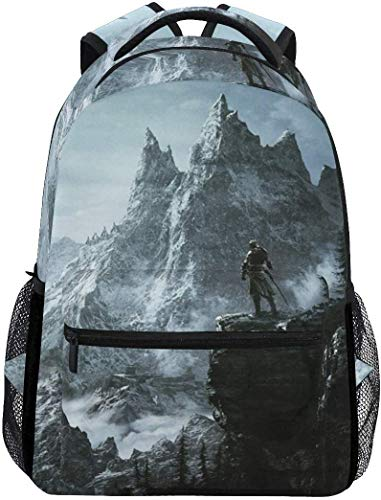 Skyrim Mountain Rucksäcke College School Book Bag Reisen Wandern Camping Daypack