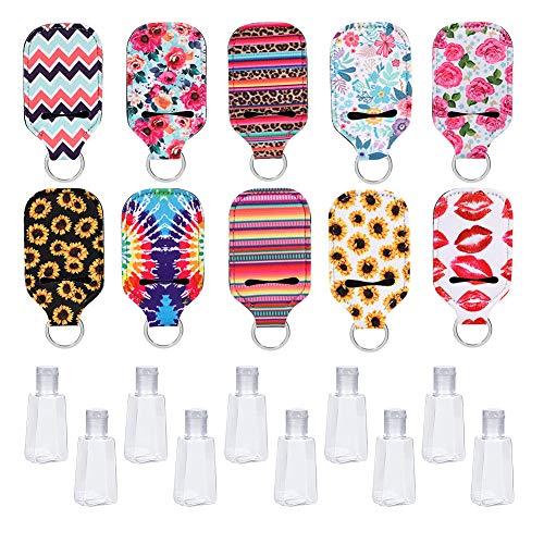 Xinzistar 10er Set Reiseflaschen Set 30ml Mit Schlüsselanhänger Tragbare Nachfüllbare Plastik Fläschchen für Flüssigkeit Seife Shampoo Spülung Cremes Körperpflege