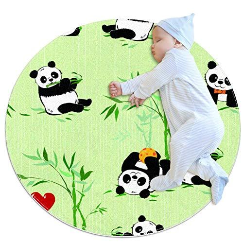Little Pandas and Bamboo Plantes Tapis de Jardin d'enfants Cercle Tapis de Jeu pour Enfants Tapis de Jeu bébé garçon Fille Tapis Doux Zone Tapis Tapis 27,6 x 27,6 cm, Multi01, 70x70cm/27.6x27.6IN
