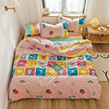 VM VOUGEMARKET Pink Grid Duvet Cover Twin with Strawberry Rainbow Pattern 100% Cotton Girls Cartoon Bedding Set Kawaii Japaneses Style Quilt Cover