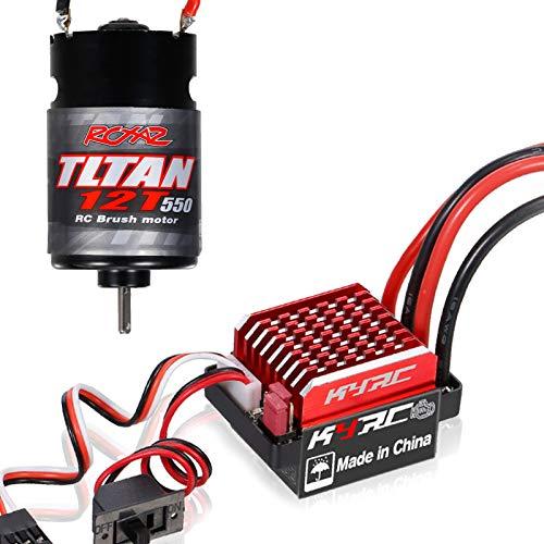 Tooart Motor RC Esc, 550 12T Motor Cepillado con Controlador de Velocidad eléctrico Cepillado 60A / 360A Esc 6V / 2A para RC Racing Car Truck Compatible con Traxxas 1/10 Slash