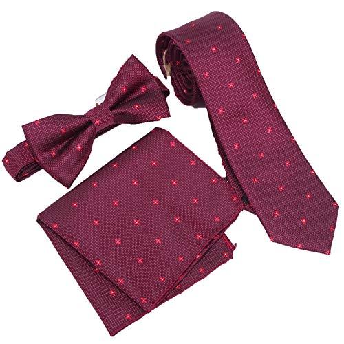 Neckties Conjunto de 3 piezas de corbata de los hombres de corbata, delgada, delgada, delgada, estrecha, para hombre, vestido de corbata, pañuelo de bolsillo, cuadrado