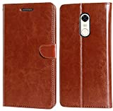 Coverage Vintage Leather Flip Cover for Lenovo K6 Note - K53a48 - Cherry Brown