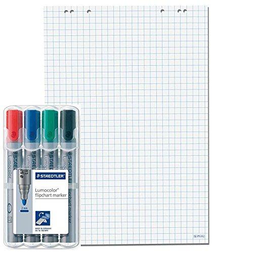 5x Flipchartblöcke, Weiss kariert, je Block 20 Blatt 69x99 cm, 6 fach Lochung, perforiert, Papier für Flipchart (5 Flipchartblöcke + 4er Marker, Kariert)