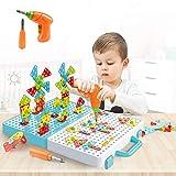 DreiWasser Juego de montaje de mosaico, juguete creativo con taladro, bloques de construcción para niños, niños y niñas de 3, 4, 5, 6 años de edad