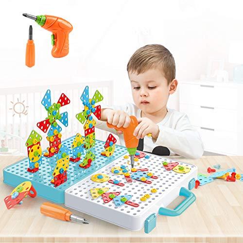 DreiWasser Steckspiel Steckmosaik Kreativ Spielzeug mit Bohrmaschine, Bausteine für Kinder, Jungen, Mädchen 3 4 5 6Jahre alt