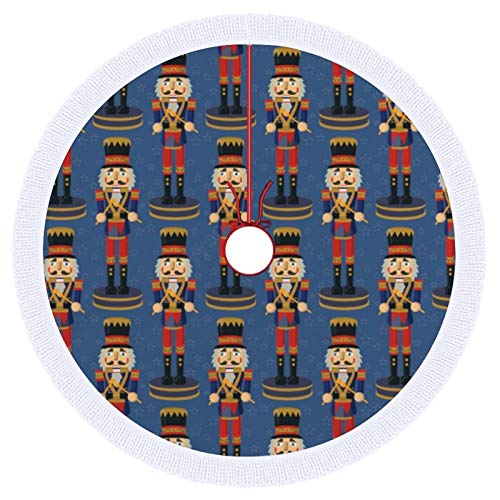 Christmas Tree Skirt,Nutcracker Toy Soldier Drummer Blue Pattern Polyester Tree Skirt, Winter New Year House Decoration Supplies, Xmas Tree Skirt for Christmas Decorations,30inch